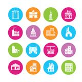 Building icons. In colorful round buttons Stock Photo