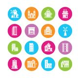 Building icons. In colorful round buttons Stock Image