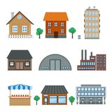 Building icons. Detailed houses and building icons set isolated on white vector illustration royalty free illustration