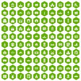 100 building icons hexagon green. 100 building icons set in green hexagon isolated vector illustration Stock Photography