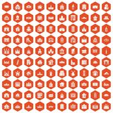 100 building icons hexagon orange. 100 building icons set in orange hexagon isolated vector illustration Stock Photography