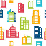 Building icons. Seamless pattern with city buildings Royalty Free Stock Images