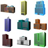 Building Icons Set in 3d. A collection of building icons showing different architectures Stock Image