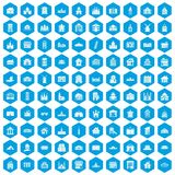 100 building icons set blue. 100 building icons set in blue hexagon isolated vector illustration royalty free illustration
