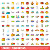 100 building icons set, cartoon style Stock Photo