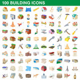 100 building icons set, cartoon style Royalty Free Stock Photo