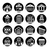 Building icons. Set of 16 building icons circle button in white background Royalty Free Stock Photo