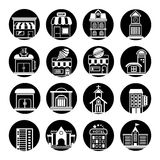 Building icons. Set of 16 building icons circle button in white background Royalty Free Stock Photography