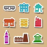 Building icons set on color stickers Royalty Free Stock Photography