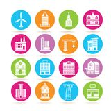Building icons. Set of 16 building icons in colorful buttons royalty free illustration
