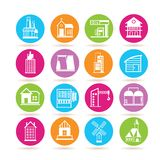 Building icons. Set of 16 building icons in colorful buttons Stock Images