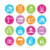 Building icons. Set of 16 building icons in colorful buttons Royalty Free Stock Photos