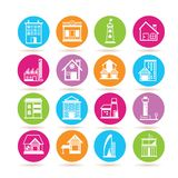 Building icons. Set of 16 building icons in colorful buttons Royalty Free Stock Images