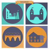 Building Icons Set. Colorful building flat design  icons set, elements for web Stock Image