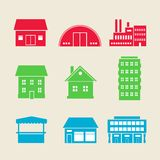 Building icons. Set of commercial, residential and industrial building icons vector illustration stock illustration