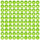 100 building icons set green. 100 building icons set in green circle isolated on white vectr illustration Stock Illustration