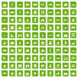 100 building icons set grunge green. 100 building icons set in grunge style green color isolated on white background vector illustration Royalty Free Stock Image