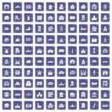 100 building icons set grunge sapphire. 100 building icons set in grunge style sapphire color isolated on white background vector illustration stock illustration