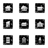Building icons set, grunge style Royalty Free Stock Image