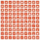 100 building icons set grunge orange. 100 building icons set in grunge style orange color isolated on white background vector illustration vector illustration