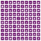 100 building icons set grunge purple. 100 building icons set in grunge style purple color isolated on white background vector illustration Royalty Free Stock Photo