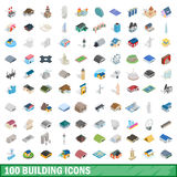 100 building icons set, isometric 3d style. 100 building icons set in isometric 3d style for any design vector illustration Stock Illustration