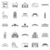 Building icons set, outline style. Building icons set. Outline set of 25 building vector icons for web isolated on white background Royalty Free Stock Photo