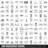 100 building icons set, outline style Royalty Free Stock Photos