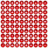 100 building icons set red. 100 building icons set in red circle isolated on white vector illustration Royalty Free Illustration