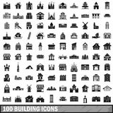 100 building icons set, simple style. 100 building icons set in simple style for any design vector illustration Royalty Free Stock Photos
