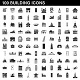 100 building icons set, simple style Royalty Free Stock Images