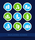 Building icons on stickers Stock Photography
