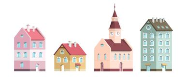 Building Icons. Vector Flat Design Houses Set. Isolated on White Background vector illustration