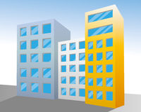 Building illustration. Scene vector in the city Royalty Free Stock Photography