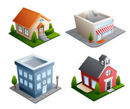 Building illustrations. Set of 4 building illustrations - House, Store, Office, School