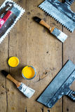 Building implements set for repair on wooden background top view mock up Stock Images