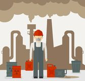 Building industrial and worker of plants polluting the environment. Toxic waste from oil extraction.Ecology design concept with air, water and soil pollution Royalty Free Stock Photos