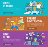 Building industry banner set design. Building construction, home repair and house planning banner set. Architect with project, foreman on construction site and royalty free illustration