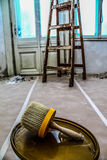 Building industry - Brush - painting tools. Renovation of old buildings . room painting and restoration Stock Photo