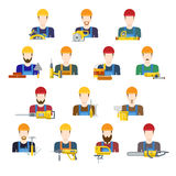 Building industry builders profession worker staff. Userpic avatar creative people icon set. Flat style carpenter painter decorator mason bricklayer stonemason Stock Images