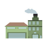 building industry factory front view chimney Royalty Free Stock Photos
