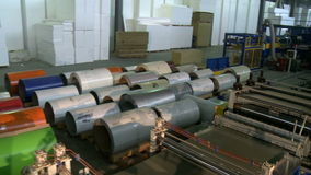 Building industry, rolls of sheet metal. Storage of building materials stock footage