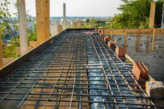 Building industry - steel for the flore. Place of work, masonry, construction site royalty free stock image