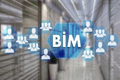 Building Information Modeling. BIM on the touch screen with a b royalty free stock photos