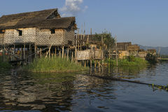 Building on the Inle lake stock photography