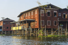 Building on the Inle lake. Exotic Floating village at Inle Lake, Myanmar royalty free stock photo