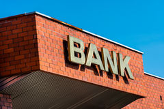 Building with the inscription Bank Stock Image
