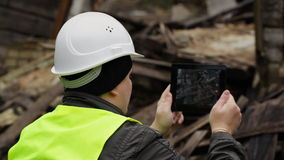 Building Inspector with tablet PC Royalty Free Stock Image