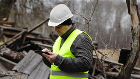 Building Inspector with tablet PC Stock Image