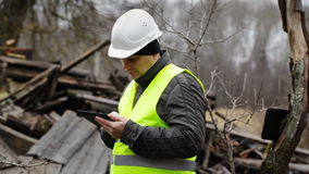 Building Inspector with tablet PC Royalty Free Stock Photos